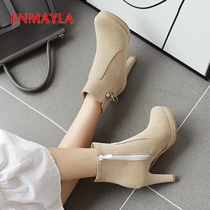 Wholesale string zip resale online - ENMAYLA Winter Round Toe Zip Ankle Boots Super High String Bead Solid PU Women Shoes Spike Heels Cow Suede Red Thigh High Boots