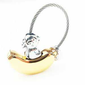 Wholesale car accessories for girls for sale - Group buy Banana monkey Key Chain Cute Metal Bag Car Accessories Keychains Keyring For Girls Women Pendant Promotional Gift Trinket