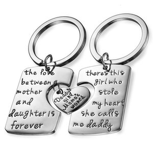Wholesale new mommy gifts for sale - Group buy Boniskiss New Fashion Keychain Nelace Sets Heart Pattern Alloy Jewelry Letter quot Dad Dughter Mommy quot charm Gift for Family