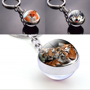 Wholesale ball and chain resale online - Animal Keychain Tiger Wolf Fox Lion Double Side Glass Ball Key Chain Black Cat Horse and Moon Key Ring Pendant Keyring G2