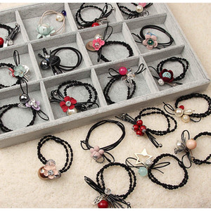 Wholesale hair jewerly resale online - Nice New Hair Rubber Bands Elastic Fabric Hair Ties Mix Pearl Flower Bowknot Pink Black Red Blue Korean Style Fashion Jewerly For Bztgz