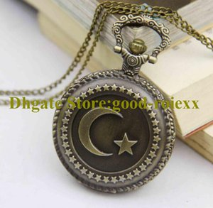 Wholesale mirror moon resale online - Antique Style Vintage Star Moon Women s Pocket Watch Necklace Accessories Sweater Chain Ladies Hanging Mens Mirror Ladys Watches AA00206