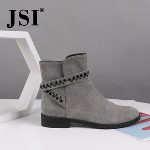 Wholesale string zip for sale - Group buy JSI Winter Ankle Women Boots Round Toe Kid Suede Zip Ladies Shoes String Bead Square Heel Low Heels Soft Basic Women Boots JC479