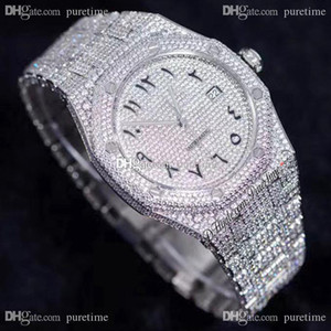 Wholesale silver script resale online - 2020 Paved Diamonds A3120 Automatic Mens Watch Arabic Script Fully Iced Out Watches Stainless Steel Bracelet Super Luxury Puretime B2