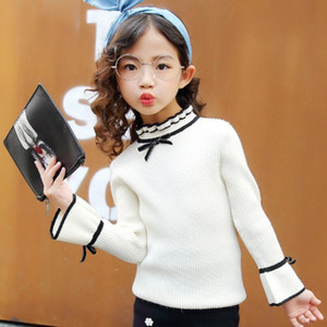 Wholesale teens girls clothes resale online - Children Clothes Spring Fall Winter Long Sleeve Toddler Teen Big School Girls Sweater Tops Ruffles Kids Pullover Sweaters JW4392 F1203