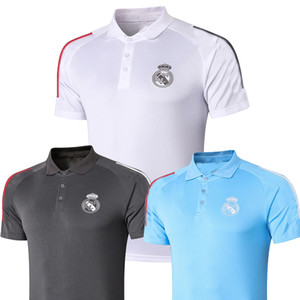 ingrosso maglia di calcio nera l-2020 Polo White Soccer Jersey Real Madrid Hazard Benzema f Mendy Black Polo Shirt Ramos Modric Football Polo Uniformi uomo