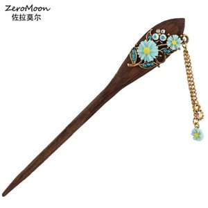 Wholesale wood vintage accessories resale online - Romantic Rose Flower Wood Hair Stocks Crystal Rhinestone Leaves Hairpin Women Metal Tassel Chain Hair Accessory Vintage Jewelry