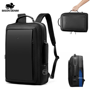 Wholesale laptop backpack for 17 inch resale online - BISON DENIM Waterproof Backpack USB Design Rucksack inches laptop Backpack for Teenager Travel Male Bag Mochia N2971