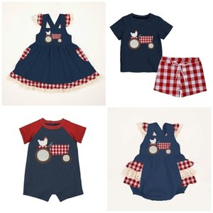 Wholesale milk baby clothes resale online - Summer baby girls boys dress short set romper farm yard plaid navy chick children clothes boutique cotton milk silk knee length Y200829