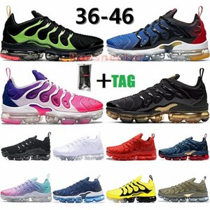 Eur 36-46 TN Plus Running Shoes For Men Women Black Electric Green Metallic Gold Triple White Black Ash Blue Man Sports Sneakers Trainers