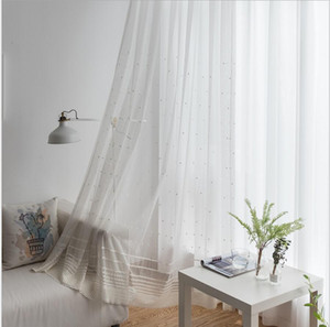 Wholesale white curtains resale online - Sheer Curtains Embroidered white window screen curtain cloth living room bedroom polyester cotton curtain customization