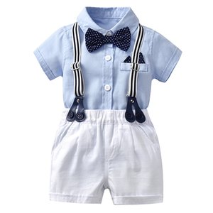 Wholesale boy formal white suit for sale - Group buy Newborn Baby Boy Romper Bow Formal Gentleman Suit For Summer Clothes Children Romper White Shorts Newborn Clothing Set Size Q0109