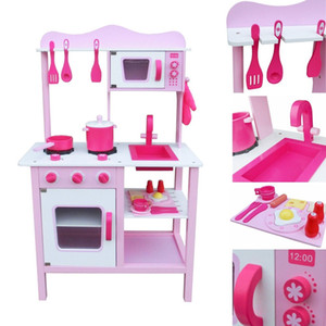 Wholesale wooden play kitchens resale online - Fashion Wood Kitchen Toy Kids Cooking Pretend Play Set Toddler Wooden Play House Set PIink Gift