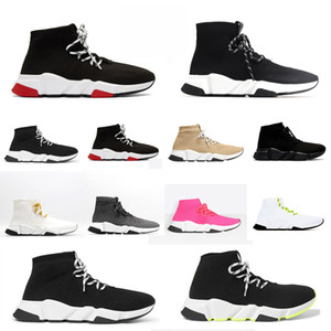 Wholesale laced up boots resale online - 2021 designer men women speed lace up clear sole triple trainer Clearsole sock boots socks boot casual black shoes shoe sneakers