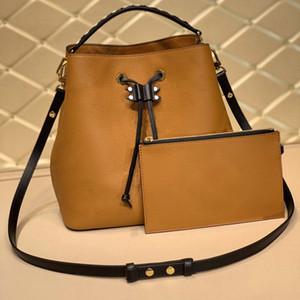 Womens LU drawstring bucket bag brown genuine leather letter embossing multi pochette shoulder crossbody tote shopping bag mirror 7A quality