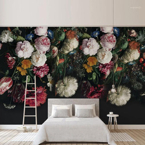 Wholesale floral sofas for sale - Group buy Customize Any Size D Wall Mural Wallpaper Painting Rural Style Retro Hand Painted Floral Flowers Living Room Sofa Bedroom Decor1