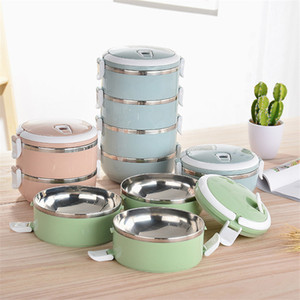 Wholesale kids lunch boxes resale online - Thermal Lunch Box Patchwork Stainless Steel Food Bento Box for Kids Portable Ladies Lunchbox Storage Box Kitchen Accessories T200710