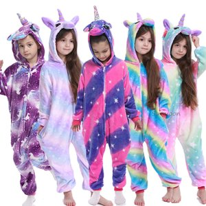 Wholesale onesie pajamas resale online - Kigurumi Onesie Kids Unicorn Pajamas For Children Animal Cartoon Blanket Sleepers Baby Costume Winter Boy Girl Licorne Jumspuit C0119