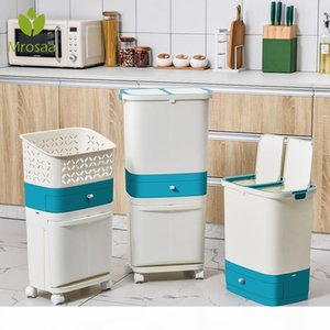 Wholesale recycled bins resale online - 3 Layer Classification Trash Can Kitchen Plastic Dustbin Wet and Dry Press Recycle Stacked Sorting Rubbish Waste Bin With Wheel Z1123