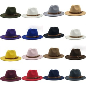 Wholesale mens fedora hat resale online - Leather Buckle Fedora Gentleman Top Hat Wool Suede Jazz Winter Mens Trilby Cap Outdoor Fashion Elegant Multi Color xg G2