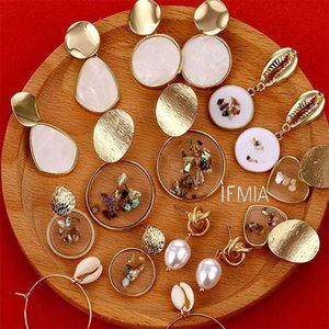 Wholesale tortoises shell for sale - Group buy IFMIA Vintage Earrings Geometric Shell Earrings For Women Girls BOHO Resin Drop Brincos Fashion Tortoise Jewelry
