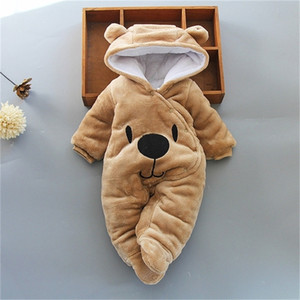 Wholesale baby boy bear clothes resale online - Newborn Winter Hoodie Romper Baby Clothing Boy Girls Clothes Cotton Cute Infant Bear Toddler Rompers