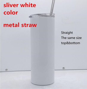 DIY sublimation skinny tumbler 20oz straight tumblers metal straw stainless steel slim tumble vacuum insulated travel mug gift