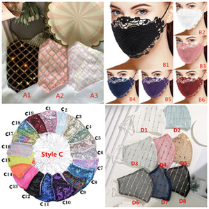Wholesale dust masks for sale - Group buy Sparkly Blink Jewel Lace Face Mask Fashion Party Women Mask For Decoration Dust Sun Washable Face Mask
