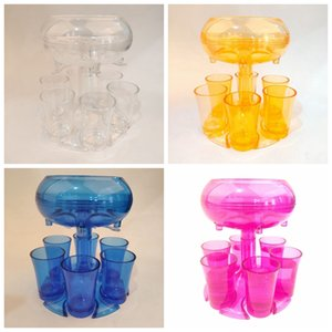 Wholesale plastic shoots for sale - Group buy 6 Shot Acrylic Dispenser Holder Plastic Wine Dispenser With Cups Wine Rack Cooler Beer Beverage Dispensers Shot Bar Tools GGA3832