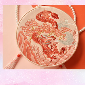 Wholesale bags monkey resale online - Angelatracy Hanfu Chinese Tiger Dragon Embroidery Tassel Rabbit Sheep Snake Horse Mouse Cow Monkey Pig Shoulder Circular Bags Q1116
