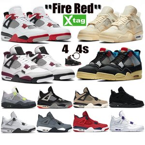 White x Sail Bred Jumpman 4 4s Mens Basketball Shoes Paris Fire Red Black Cat Cactus Jack Union Guava Ice Womens Sneakers Trainers
