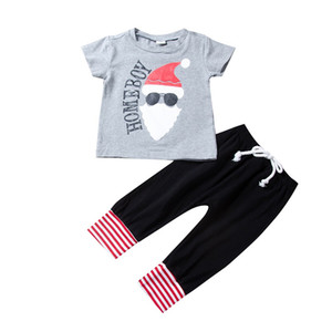 Wholesale hot santa girl resale online - Boy Girls Christmas Suit Kids Homeboy Santa Claus Printing Top Trousers Fashion Two Piece Set Hot Sale xa J2