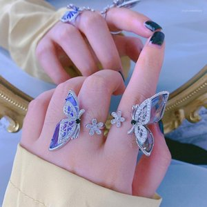 Wholesale big crystal flower ring resale online - Statement Flower Butterfly Open Rings For Women New Trends Jewelry Personality Crystal Big Ring Adjustable Bijoux1