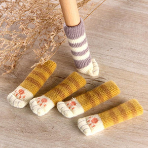 Wholesale chair floor protectors resale online - 4Pcs Cat Table Foot socks Chair Leg Covers Floor Protectors Non Slip Knitting Socks For Furniture Cartoon Home Decor