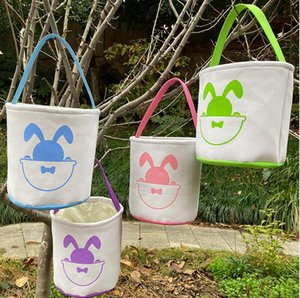 Wholesale canvas storage buckets resale online - Easter Handbag Basket Bunny Bags Cartoon Bucket Candies Canvas Totes For Gifts Cute Rabbit Barrel Kids Bag Baby Storage Lovely Egg E120 Gmkl