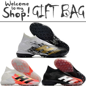 Wholesale football soccer shoes turf boots resale online - Predator Mutator TF Turf Soccer Football Boots Shoes For Mens High Ankle Laceless Black White Gold Trainers Socks Football Soccer Cleats