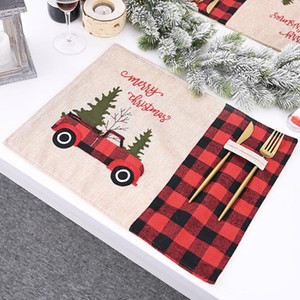 Wholesale tablecloths christmas resale online - Red Back Lattice Christmas Placemat Cartoon Car Home Tablecloth Table Mat High Quality Christmas Festive Party Decorations