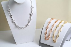 Europe America Fashion Style Jewelry Sets Lady Women Hollow Out Initials Crazy in Lock Necklace Bracelet Sets M69621 M69583
