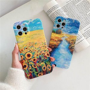 Wholesale painting sunflowers resale online - Bronzing Oil Painting Sunflower Phone Case For IPhone12 Pro TPU Soft Shell Phone Protective Case For PLUS