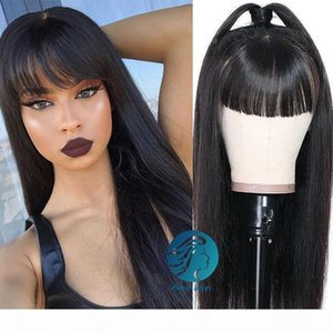 Wholesale ponytail bangs resale online - Black Brazilian Remy Lace Front Human Hair Wigs with Bangs Pre plucked Density Can Make Ponytail Lace Frontal Wig For African Americans