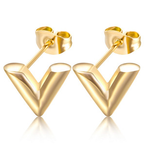 Wholesale earring pierce resale online - Hip Hop V Pattern Stud Earrings for Women Men Exquisite Stereoscopic Vintage Stainless Steel Letter Earring Piercing Punk Jewelry Christmas