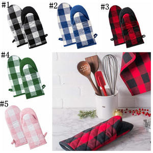 Wholesale heat protecting resale online - Oven Gloves Microwave Heat Proof Resistant Glove Convenient Finger Protect Anti hot Oven Glove Bakeware Gloves Colors Plaid YYS4258