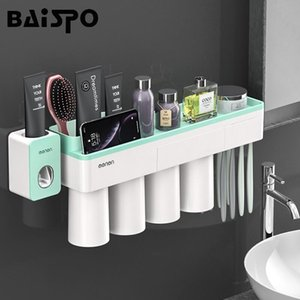 Wholesale bathroom accessories sets resale online - BAISPO New Magnetic Adsorption Toothbrush Holder With Cups Wall Mounted Bathroom Storage Rack Case Bathroom Accessories Set