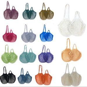 Shopping Bags Handbags Vegetable Fruits Grocery Bag Shopper Tote Mesh Net Woven Cotton Bags String Organizer Reusable Storage Bags OWC3718