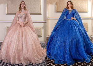 Wholesale royal blue quinceanera dress rhinestones for sale - Group buy Bling Bling Royal Blue Rose Gold BIG Shawl Ball Gown Quinceanera Dresses Crystal Rhinestones Sweet Dress Vestidos Anos