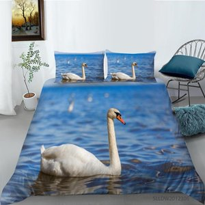 Wholesale swan king for sale - Group buy Bedroom Decor D Printed Swan Duvet Cover with Pillowcase Bedding Set Single Double Twin Full Queen King Size
