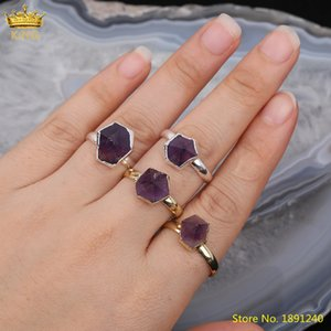 Wholesale silvery ring resale online - 5pcs Natural Amethysts Quartz Hexagonal Beads Adjustable Rings Jewelry Gold Silvery Crystal Open Rings Jewelry Gift For Her J1208