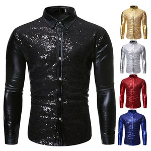 Wholesale red sequin shirts resale online - Red Metallic Sequins Glitter Shirt Men New Disco Party Halloween Costume Homme Stage Performance Shirt Male