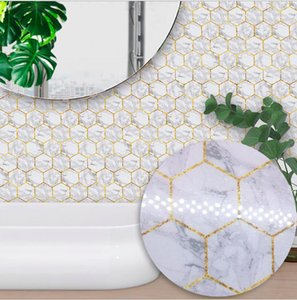 Wholesale marble tiling for sale - Group buy Wall Stickers Tiles Stickers for Bathroom Kitchen Tiles Decor Adhesive Waterproof PVC Stickers Hexagonal Marble sea shipping GWB4476