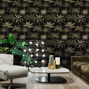 Wholesale black green wallpapers for sale - Group buy New Nordic Palm Leaves Black Wallpaper Non woven Coconut Southeast Asia Ins Green Living Room Bedroom Background Wall Paper
